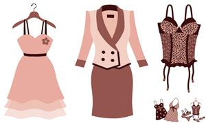 裙子内衣与鞋子等服饰主题矢量素材