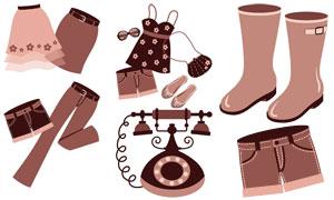裙子褲子與雨鞋電話機物品矢量素材