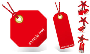 红色质感吊牌标签主题设计矢量素材
