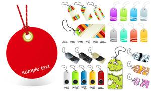 五彩效果商品吊牌标签设计矢量素材