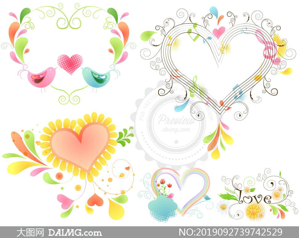 小鸟绿叶装饰心形边框创意矢量素材