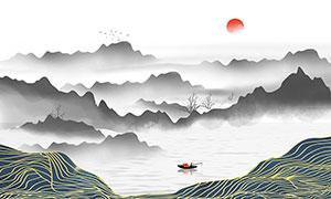 中國傳統水墨山水海報背景PSD素材