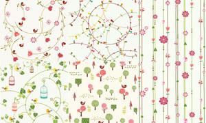 小鸟与树木等图案底纹背景矢量素材