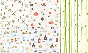 单车小鸟与竹子等图案背景矢量素材