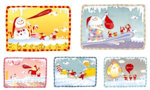 雪人与圣诞装扮的人物插画矢量素材