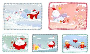 雪人与圣诞老人等插画创意矢量素材