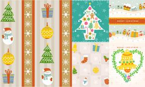 雪人驯鹿与圣诞老人等创意矢量素材