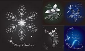 闪耀星光雪花装饰圣诞图案矢量素材