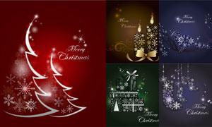 小鸟与蜡烛等图案圣诞创意矢量素材