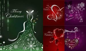 桃心与酒杯等创意圣诞主题矢量素材
