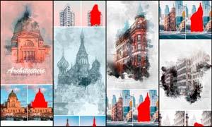 建筑物手绘和素描效果PS动作