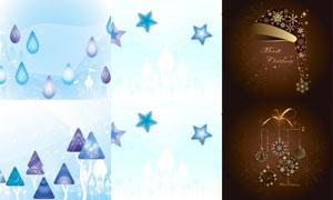 雪花星光与五角星元素圣诞矢量素材
