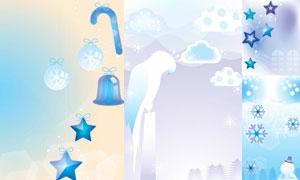 雪花鹦鹉与五角星元素创意矢量素材