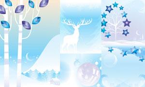 驯鹿挂球与五角星插画创意矢量素材