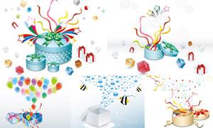 礼物盒里的气球等创意设计矢量素材