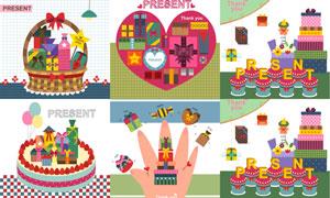 蛋糕与礼物篮主题卡通创意矢量素材
