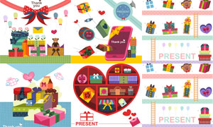 蝴蝶结与礼物盒等插画创意矢量素材