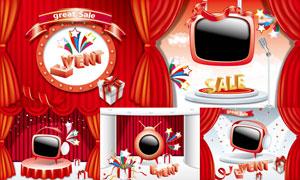 红色舞台幕布与电视机创意矢量素材