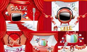 飘带电视机与红色幕布设计矢量素材