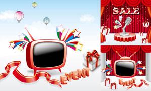 麦克风电视机与幕布等设计矢量素材