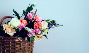 花篮中的玫瑰花高清摄影图片