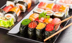 精致的美味日式寿司摄影图片