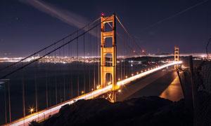 夜空下的金门大桥美景摄影图片