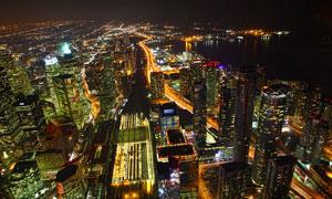 绚丽的城市夜景灯光俯视图摄影图片