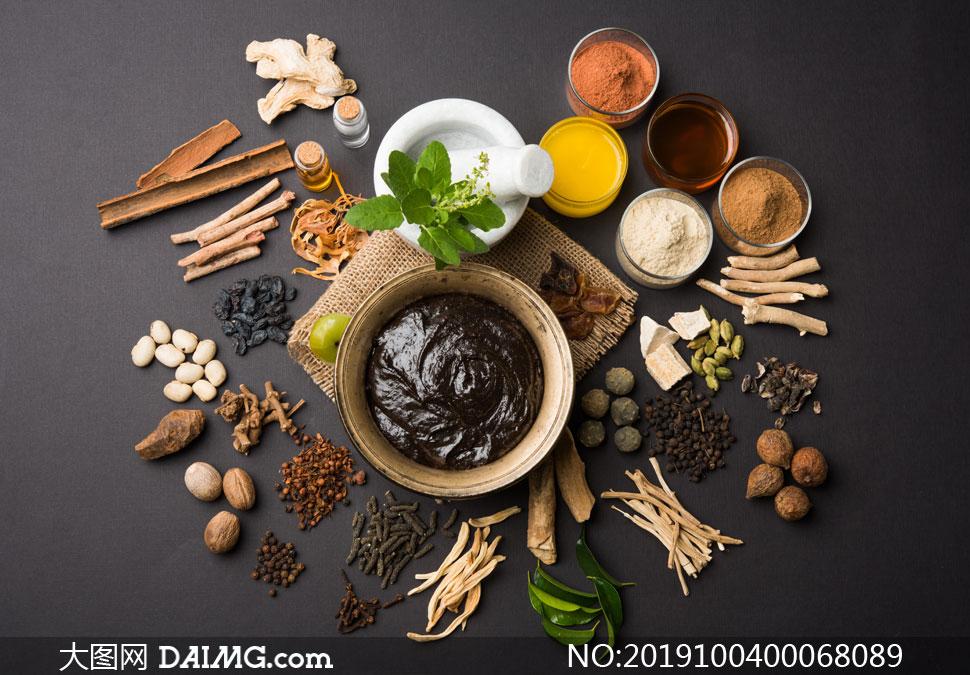 中国传统中药药膏高清摄影图片