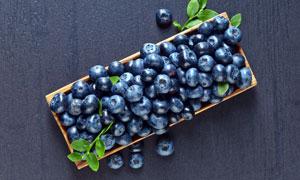 盘装的新鲜蓝莓俯视摄影图片