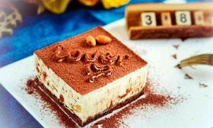 巧克力杏仁蛋糕高清摄影图片