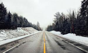 冬季雪后公路美景摄影图片