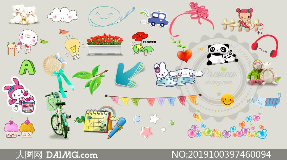 儿童相册适用文字卡通装饰素材集V26
