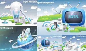 灯泡电视机等创意商务设计矢量素材
