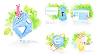 清新綠色手繪風格商務創意矢量素材