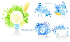 水彩創意燈泡字符元素設計矢量素材