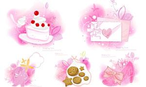 蛋糕礼物盒等粉红水彩创意矢量素材