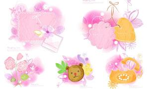 小熊与花朵等水彩创意元素矢量素材