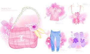 褲子與包包等服飾水彩創意矢量素材