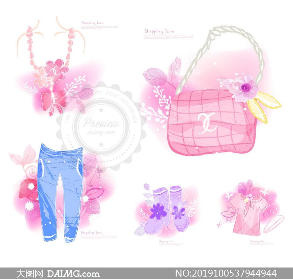 裤子与包包等服饰水彩创意矢量素材