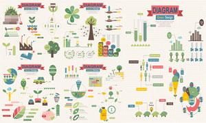 树木叶子元素信息图表创意矢量素材