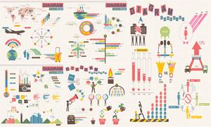 多彩创意数据统计信息图表矢量素材