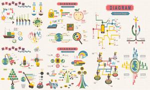 人形元素缤纷信息图表创意矢量素材