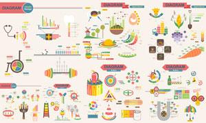农业生产与医疗等信息图表矢量素材