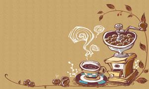 手绘效果咖啡杯咖?#28982;?#20027;题分层素材