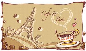 埃菲尔铁塔与冒热气的咖啡分层素材