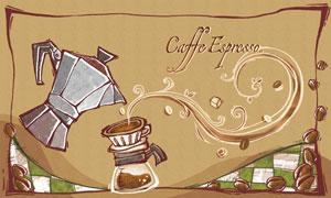 咖?#28982;?#19982;咖啡豆花?#39057;?#21019;意分层素材