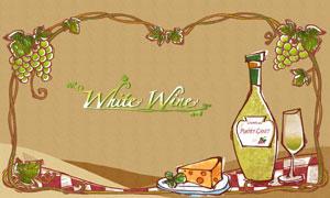 葡萄架藤蔓与酒瓶酒杯主题分层素材