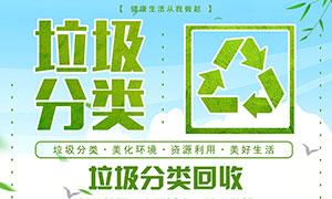 垃圾分类回收公益宣传海报PSD素材