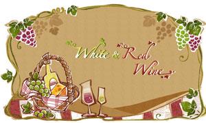葡萄藤蔓边框与酒杯等创意分层素材